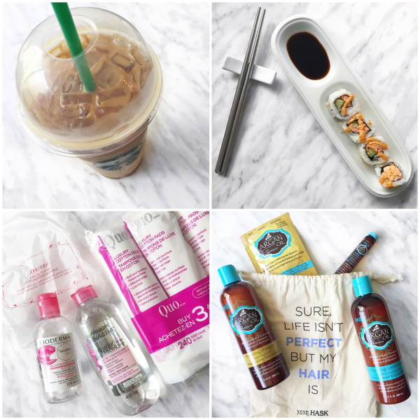 bbloggers, bbloggersca, canadian beauty bloggers, instagram, instamonth, starbucks caramel macchiato coconut milk, sushi, quo makeup cotton pads, shiseido, bioderma, garnier micellar, hask argan oil haircare, shampoo, oil, conditioner
