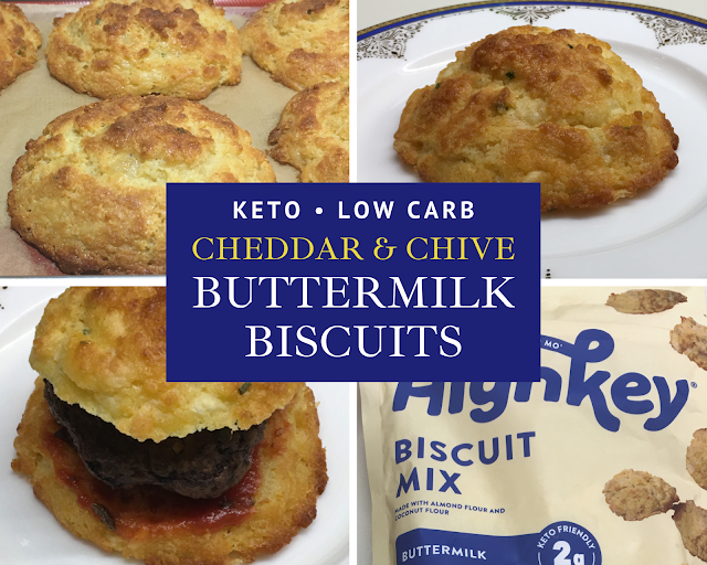 "Main image - photo collage with text ""Keto & Low Carb Cheddar-Chive Buttermilk Biscuits"""