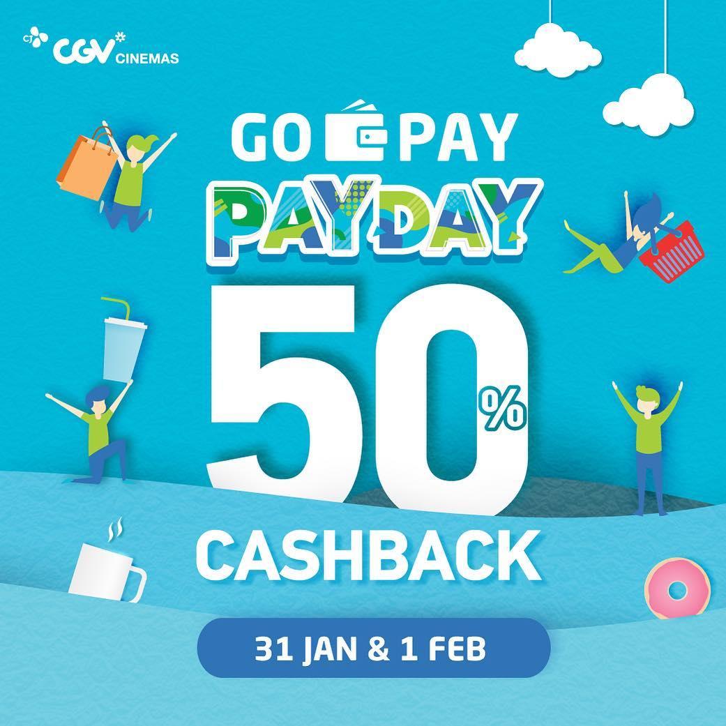 #CGV - #Promo #PAYDAY Cashback 50% Pakai #GOPAY (s.d 01 Feb 2019)