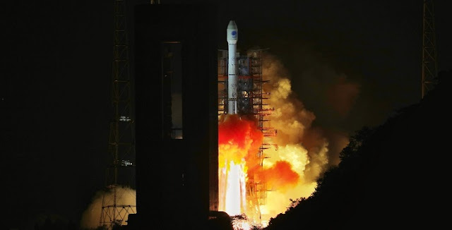 Long March 3B launches BeiDou-3 G1Q satellite on November 1, 2018. Photo Credit: Xinhua