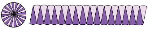Lingkaran 3. Lipat lingkaran menjadi 32 bagian yang sama besar. Susunlah seperti bentuk berikut. Tulislah ukuran sisinya seperti lingkaran 1.