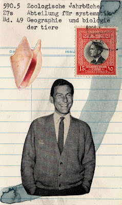 dick van dyke, conch shell postage stamp library card Dada Fluxus mail art collage