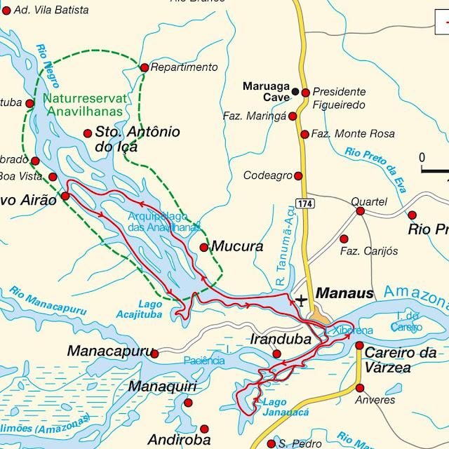 Mapa trajeto Presidente Figueiredo-Manaus