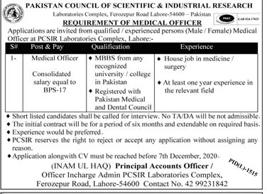 PCSIR Jobs 2020, Pakistan Council of Science & Industrial Research