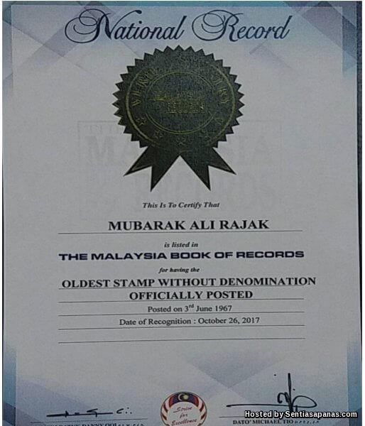 Setem tanpa harga - Pengesahan oleh Malaysian Book Of Record