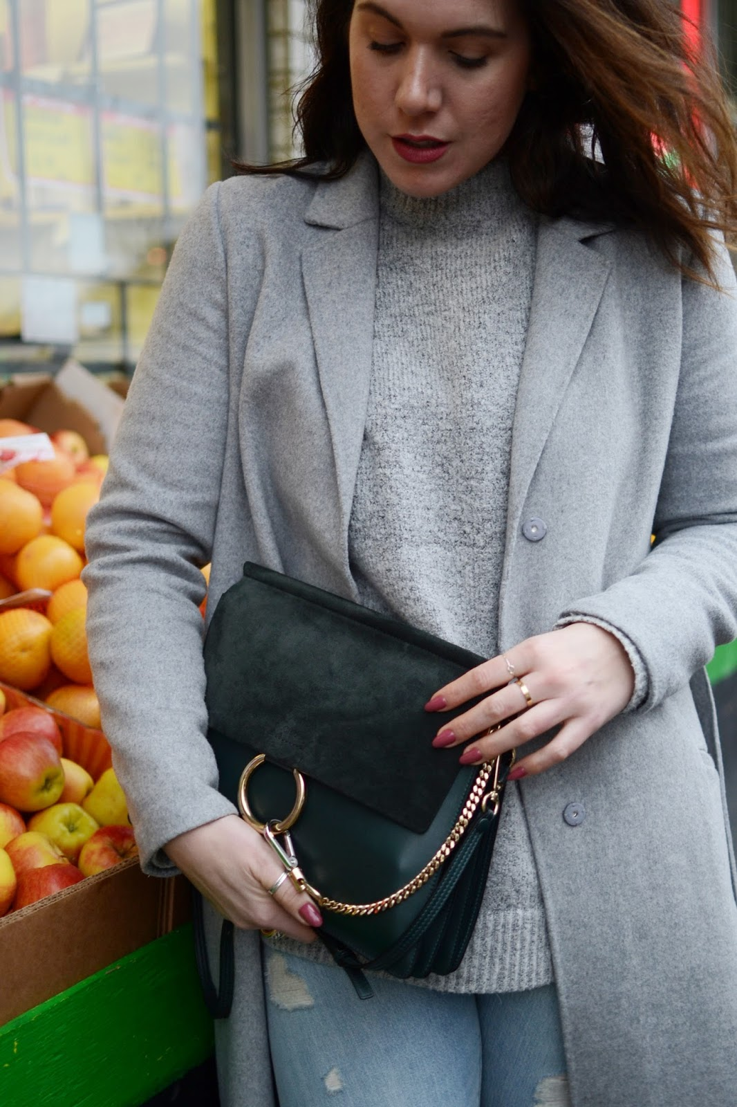 Grey wool coat winter outfit levis 501ct satin ankle boots chloe faye bag vancouver fashion blogger aleesha harris