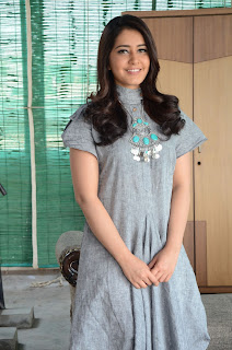 Rashi Khanna looks cute in this strange dress at Supreme movie promotional interview event