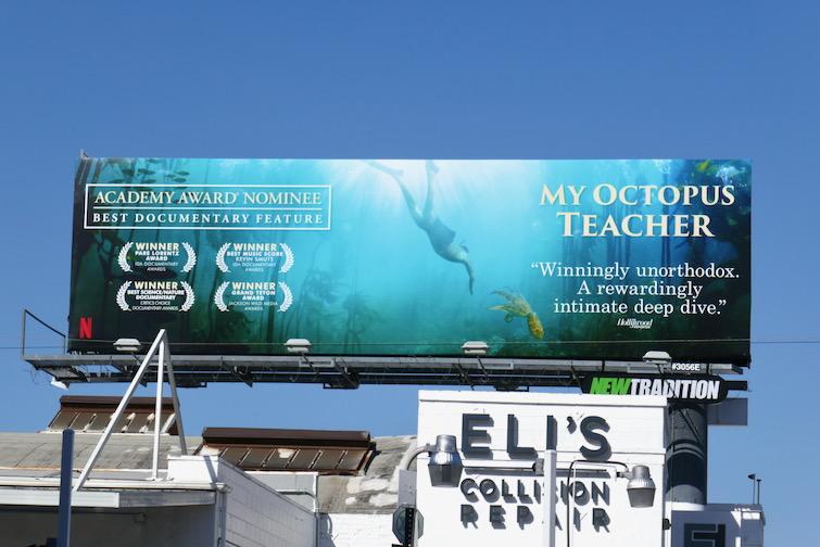 My Octopus Teacher Academy Award nominee billboard