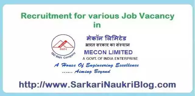 Sarkari Naukri Vacancy Recruitment in Mecon Limited