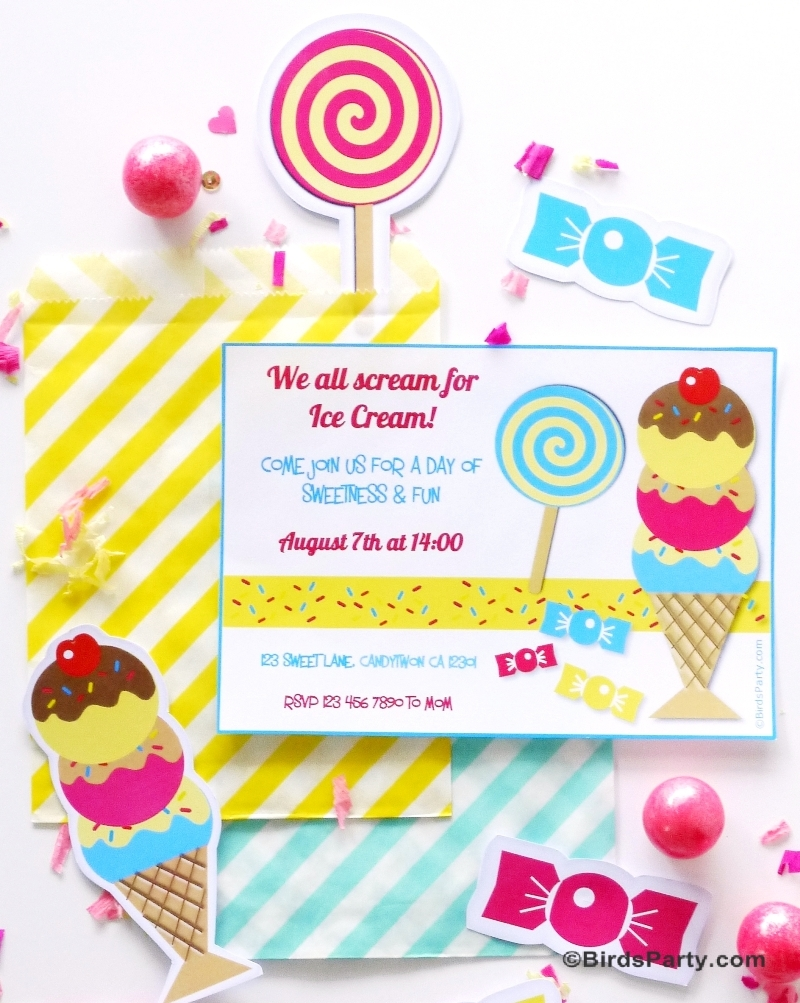 Ice Cream Social Birthday Party Printables and DIY Decorations - BirdsParty.com