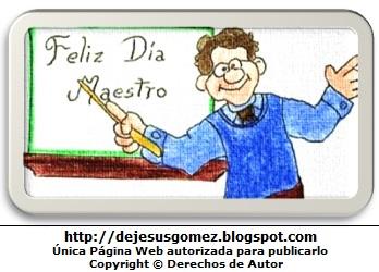 Imagen de un profesor en su pizarra. Dibujo de un profesor hecho por Jesus Gómez