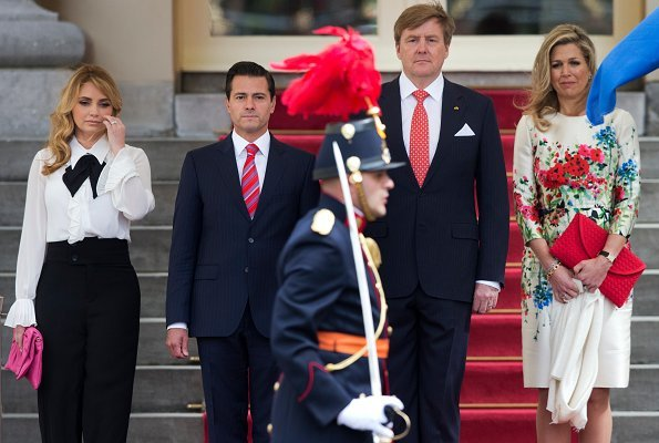 Queen Maxima wore Natan Floral Print Dress. President Enrique Pena Nieto and his wife Angelica Rivera de Pena at Noordeinde Palace in The Hague