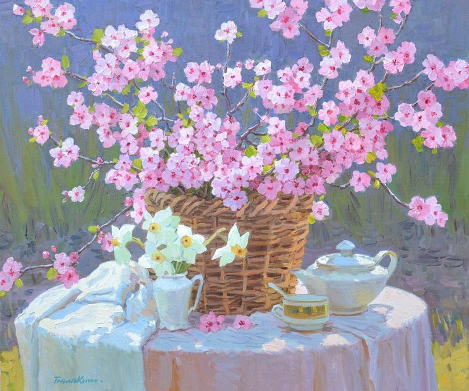 Imágenes Arte Pinturas: Cuadros de jardines con flores pinturas