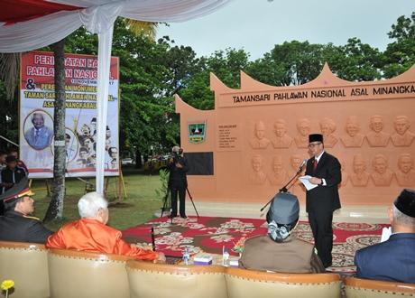 Wagub Resmikan Monumen Taman Sari Pahlawan Nasional Asal Minangkabau