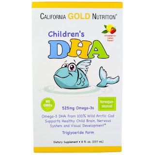 مكمل غذائي اوميجا 3 بنكهتي الفراولة والليمون  California Gold Nutrition, Children's DHA, Strawberry-Lemon Flavor, 8 fl oz (237 ml)