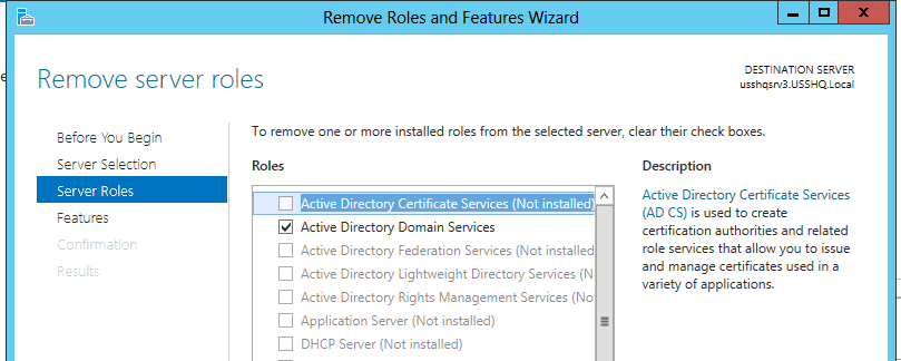 Remove Roles and Features Wizard