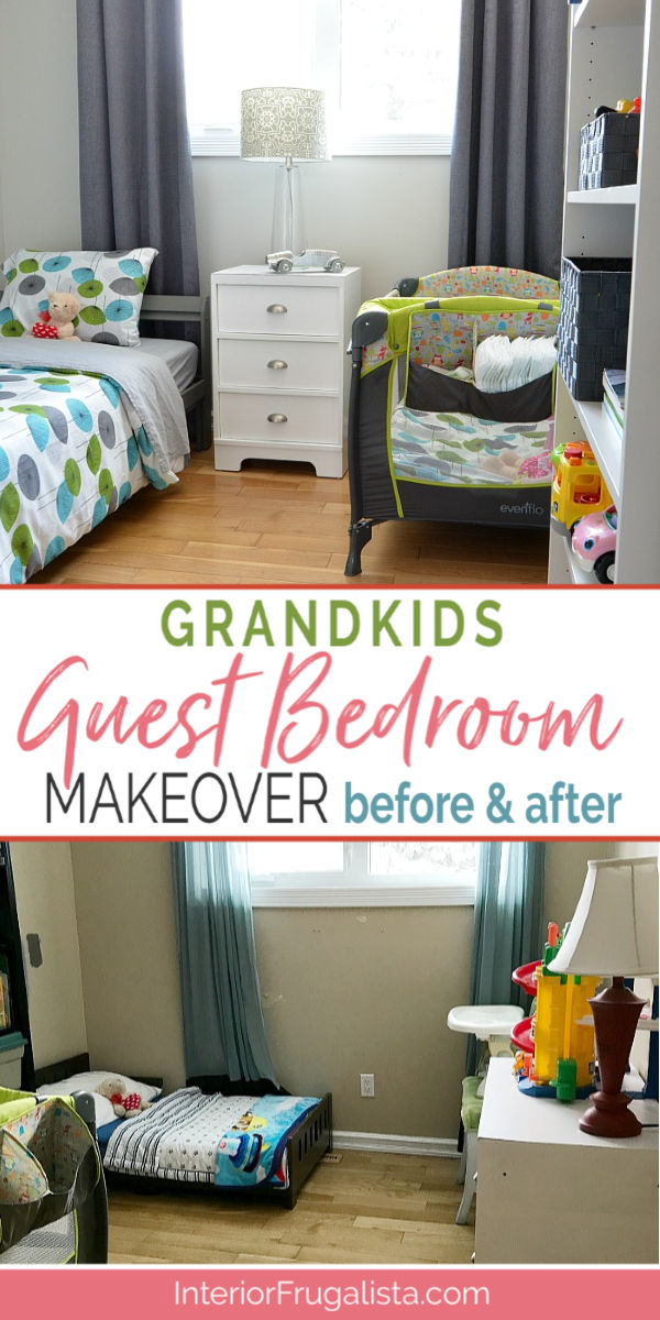 A shared kids guest room makeover on a budget for our grandkids before and after. Grey painted walls, new furniture, and kids decor, plus DIY kids wall art ideas for under $400. #grandkidsroom #budgetroommakeover