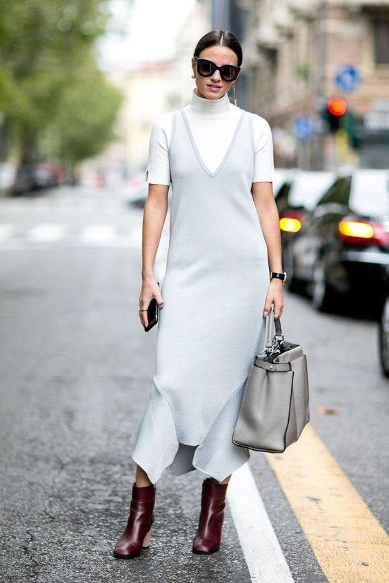 layering slip dress white tshirt fashion blogger ootd outfit transitional dressing