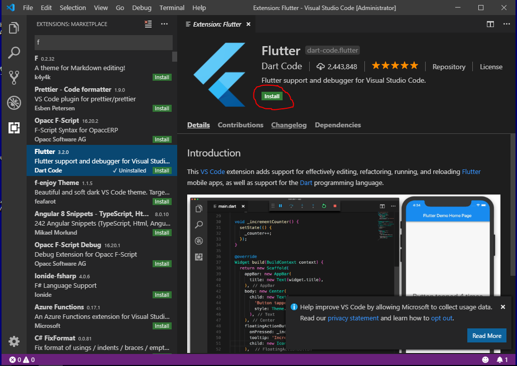 Install Flutter on Windows with Visual Studio Code