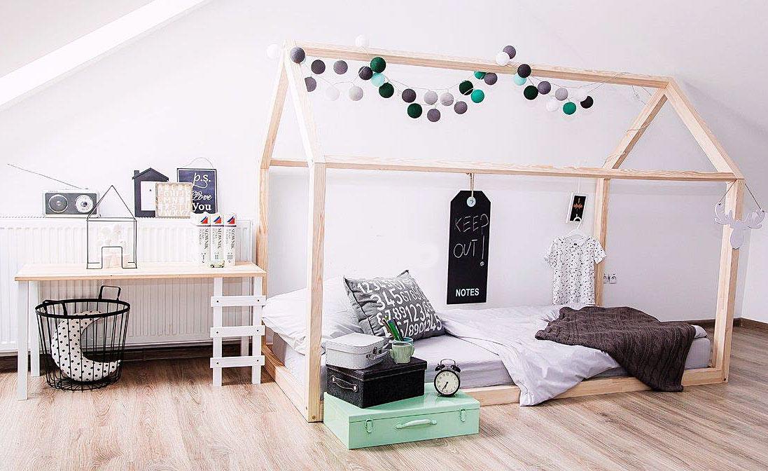 łóżko domek z drewna dla dzieci styl skandynawski