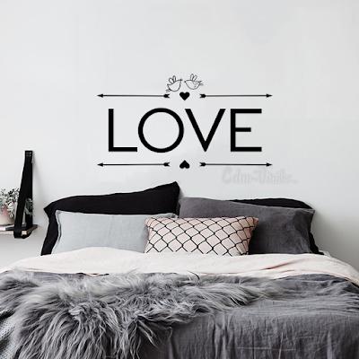 vinilo decorativo pared romantico amor love frase flechas pajaros respaldo cama sommier
