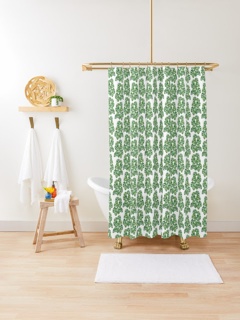 Monstera Adansonii Tropical Houseplant Hand-Painted Art Shower Curtain