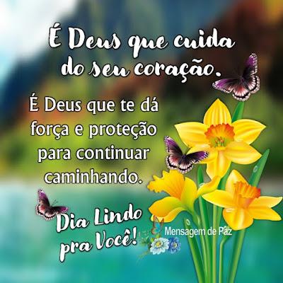 É Deus que cuida do seu coração.  É Deus que te dá força e proteção   para continuar caminhando.  Dia Lindo pra Você!