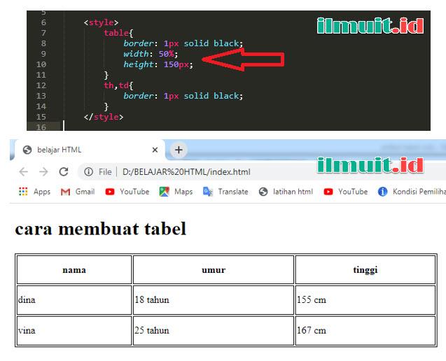 Menambahkan width dan height pada tabel