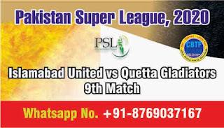 Today Match Prediction Islamabad United vs Quetta Gladiators Pakistan Super League 9th T20 100% Sure