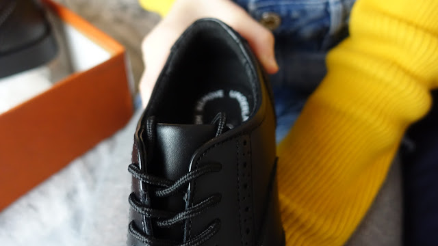 Black shoe with laces