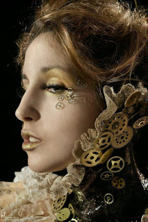 Diy tutorial on how to create this steampunk special fx makeup. Glue gears on your eyes and face for a cool steampunk look