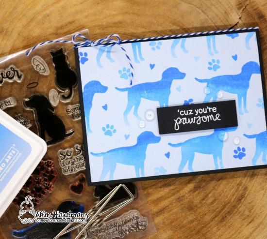Monochromatic Cards by Ellen Haxelmans | Furr-ever Freinds & Terrific Terriers Stamp Sets by Newton's Nook Designs #newtonsnook #handmade