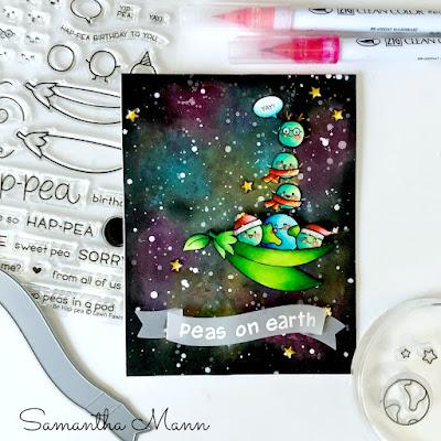 Peas on Earth Card by Samantha Mann, Lawn Fawn, Galaxy, Watercolor, Christmas, Christmas Cards, Peas, handmade cards, #cards #lawnfawn #christmas #christmascard #peasonearth #pun