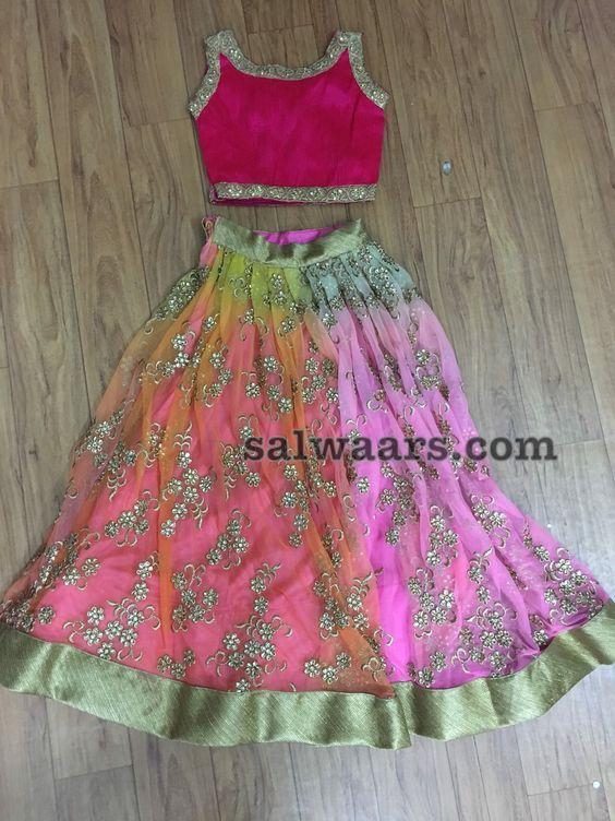 Baby Pink Shimmer Net Lehenga