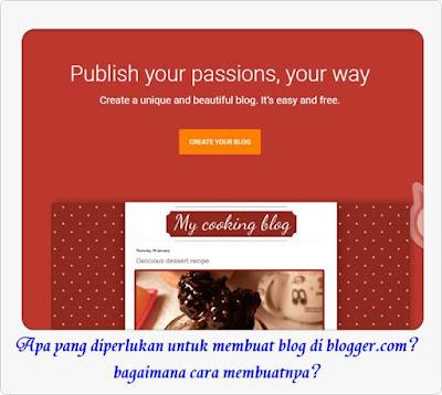 apa yang diperlukan untuk membuat blog di blogger dan bagaimana cara membuatnya