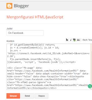 Cara Memasang Fans Page Like Box di Sidebar Blogger
