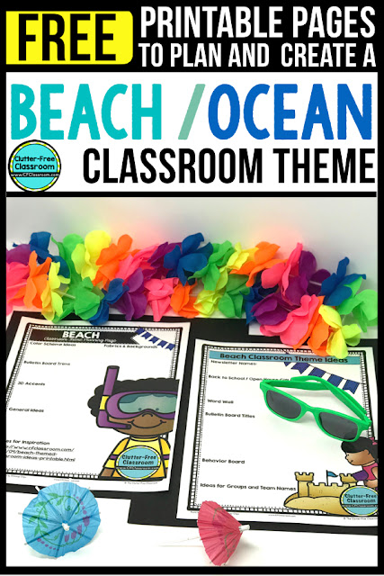 Beach Theme Classroom: If you're an elementary teacher who is thinking about an Ocean, Under the Sea, Underwater, Tropical, Luau, Hawaiian, Mermaid, Sea, or Beach theme then this classroom decor blog post is for you. It'll make decorating for back to school fun and easy. It's full of photos, tips, ideas, and free printables to plan and organize how you will set up your classroom and decorate your bulletin boards for the first day of school and beyond. #ClassroomDecor #ClassroomDecorations #BacktoSchool #beachtheme