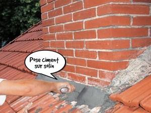 Pose ciment sur solin de cheminée