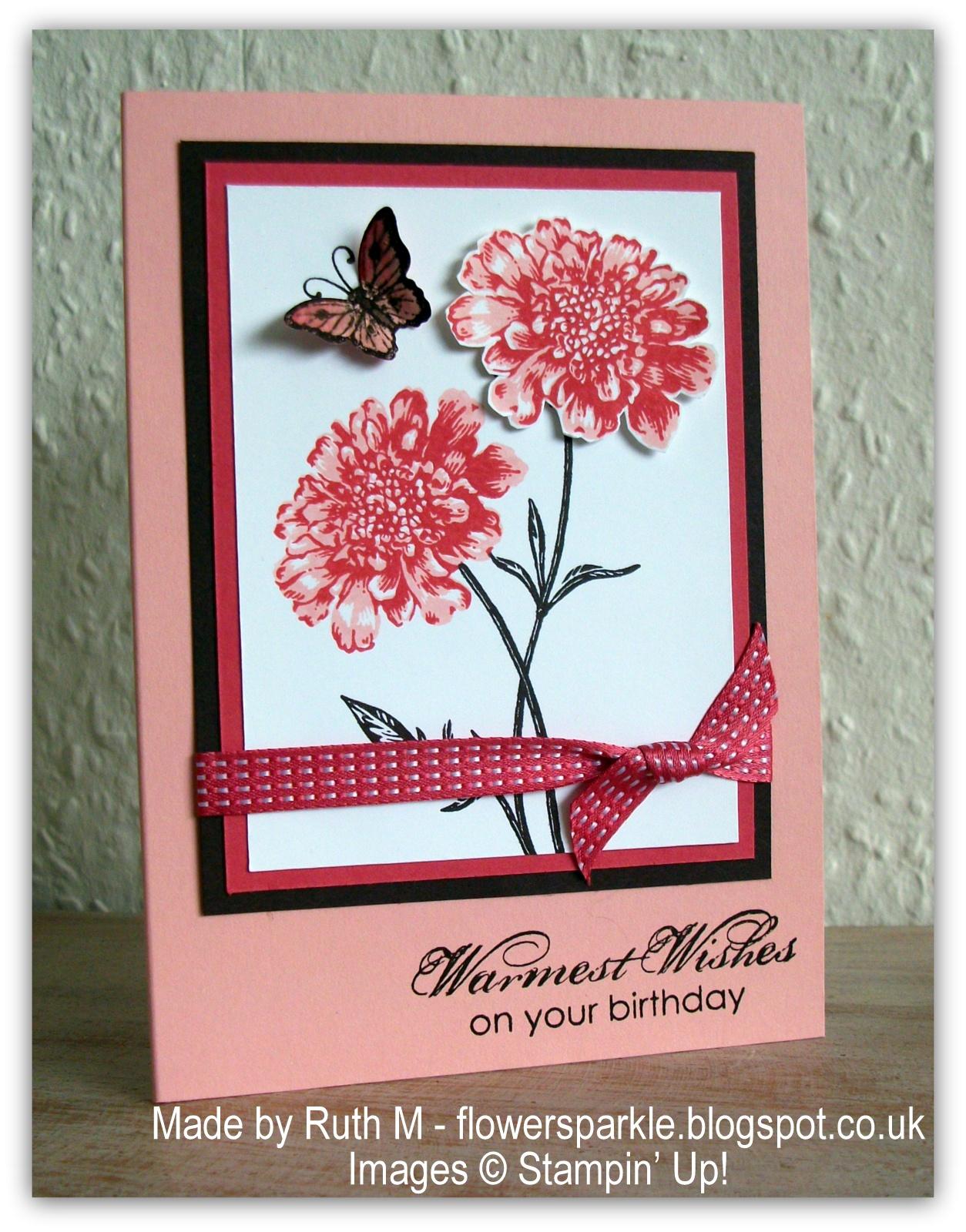 Flower Sparkle Field Flowers Warmest Wishes Birthday Card