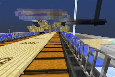 Vervoersysteem voor de wortelen met waterwegen in het spel Minecraft.