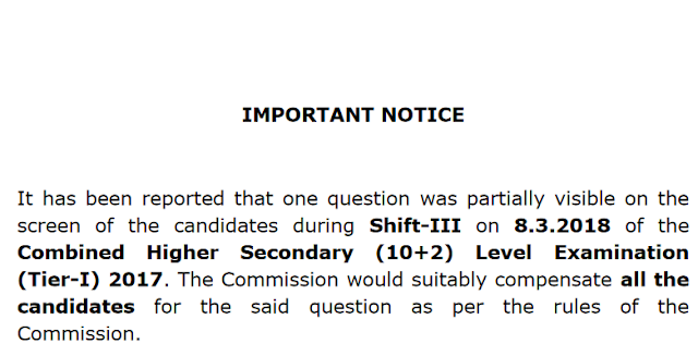 [Notice] Regarding One Question Was Partially Visible in SSC CHSL 2017 [8th MARCH]- SSC Officer