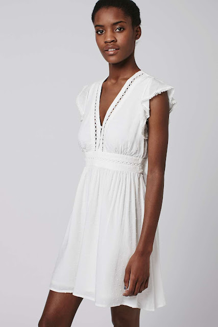white cotton embroidered dress, topshop white sundress,