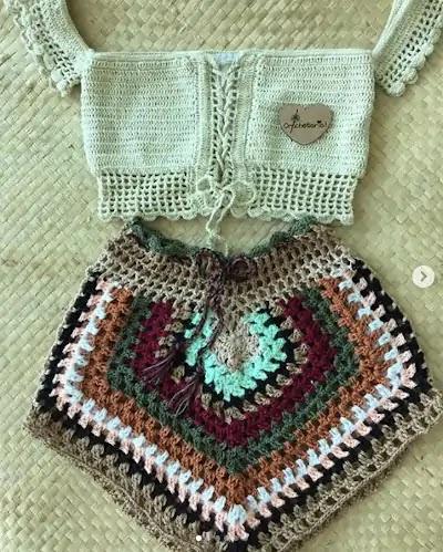 Conjunto Crochê Short Square Colorido