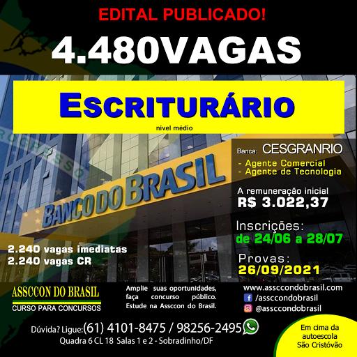 CONCURSO BANCO DO BRASIL 4.480 vagas