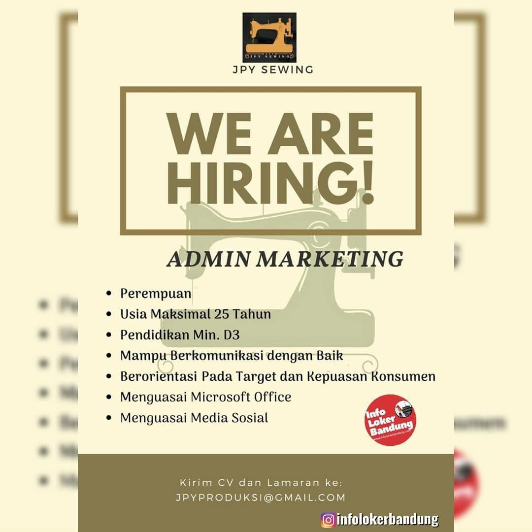Lowongan Kerja Admin Marketing JPY Sewing Bandung Januari 2020