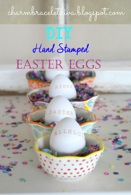 DIY hand stamped distress ink Easter eggs confetti