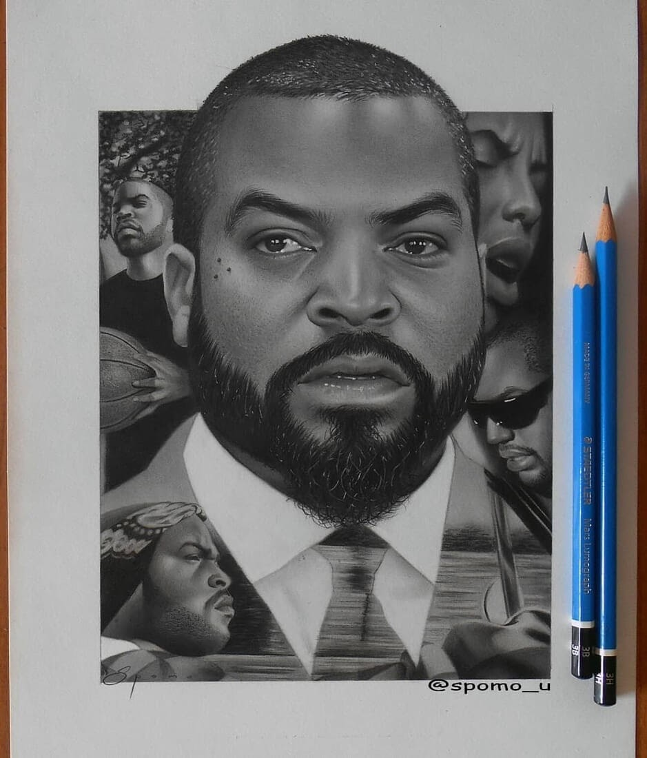 06-Ice-Cube-Spomo-Ubiparipović-Black-and-White-Celebrity-Pencil-Portraits