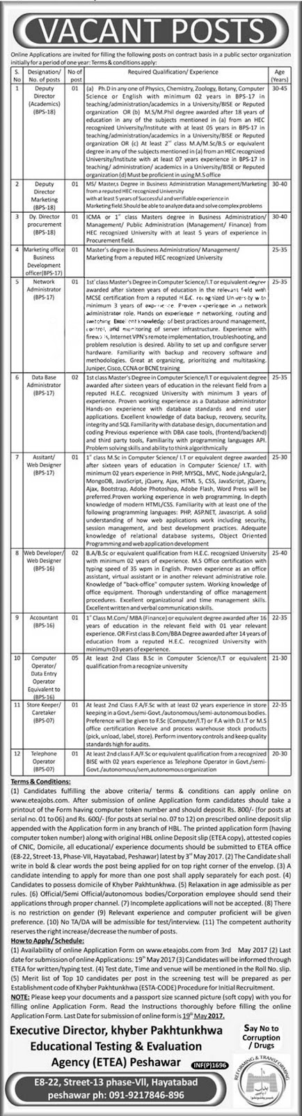 Educational Testing And Evaluation Agency 2017 hayatabad Jobs  19 April 2017