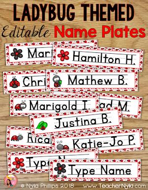 Ladybug Themed Classroom Name Plates