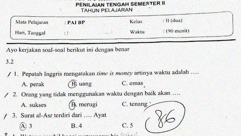 Soal Penilaian Tengah Semester 2 Mapel PAI BP Kelas 2